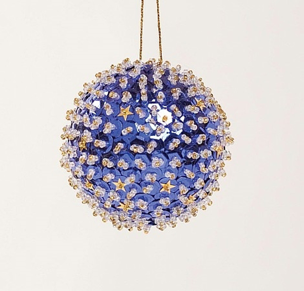 """Picture of Blue Sequin Stars Ball Ornament with Hanging String 