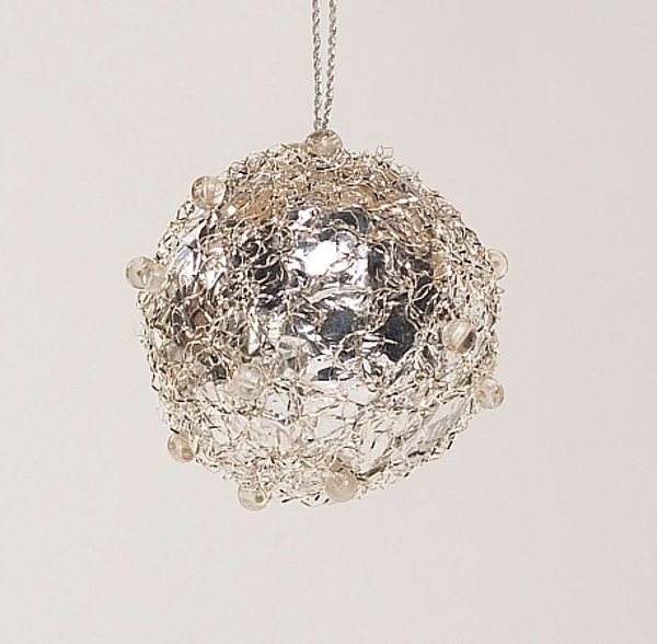 """Picture of Silver Tinsel and Bead Ball Ornament with Hanging String   3""""Diameter    Item No. 43142"""