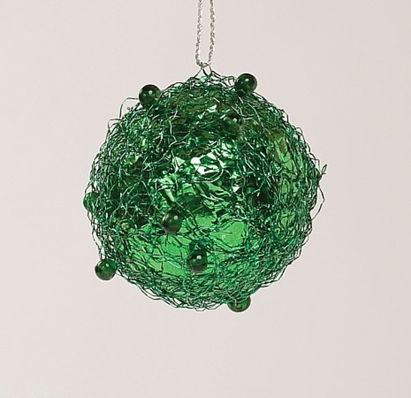 """Picture of Green Tinsel and Bead Ball Ornament with Hanging String 