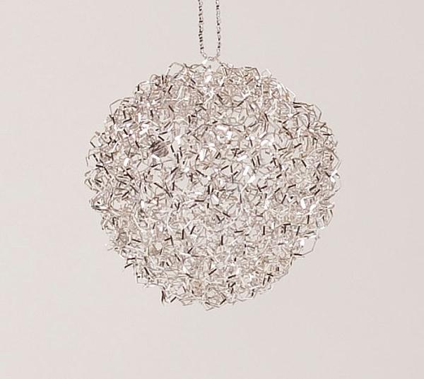 "Picture of Silver Bullion Wire Ornament Poke Xmas Light Thru  Set/12    2.5""Diameter    Item No. 25112"