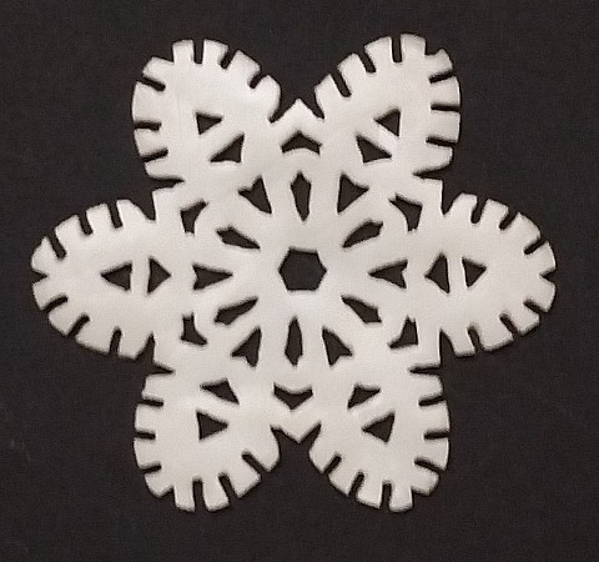 """Picture of White Stone Snowflake Ornament Hand Carved from 3mm Thick Wafer    3.5""""Diameter    Item No. WS013"""