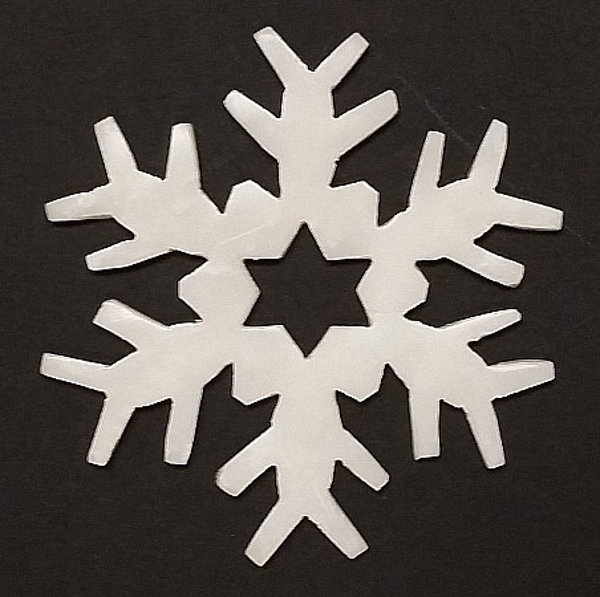 """Picture of White Stone Snowflake Ornament Hand Carved from 3mm Thick Wafer    3.5""""Diameter    Item No. WS020"""