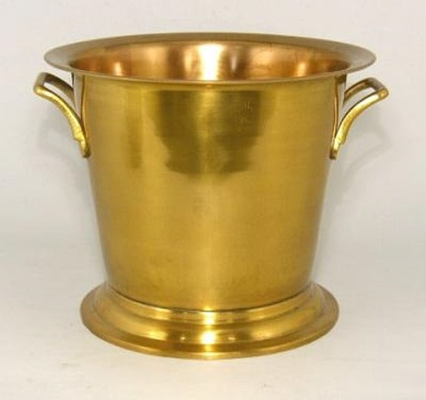 """Picture of Antique Gold Patina Finish on Brass Wine Cooler with Handles    10""""Dx8.5""""H    Item No. K37432"""