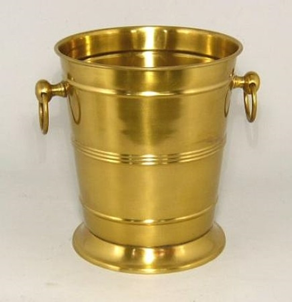 """Picture of Antique Gold Patina Finish on Brass Wine Cooler with Ring Handles    8""""Dx9""""H    Item No. K37908"""