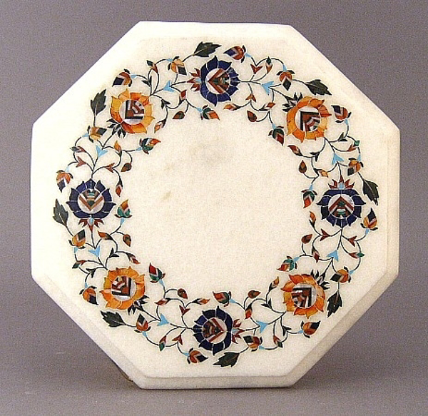 "Picture of White Marble Table Top Octagonal with Semi Precious Stone Inlay Border  | 12""Wide 3/4""Thick 