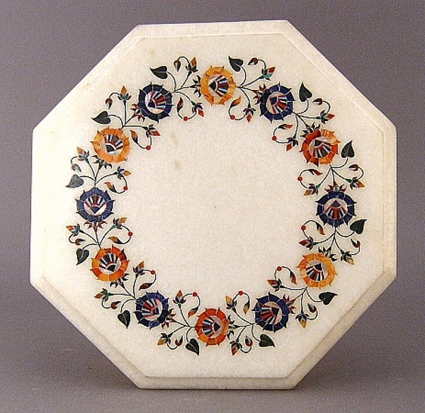 """Picture of White Marble Table Top Octagonal with Semi Precious Stone Inlay Border  