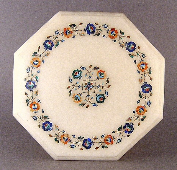 """Picture of White Marble Table Top Octagonal with Semi Precious Stone Inlay Border + Center Medallion 