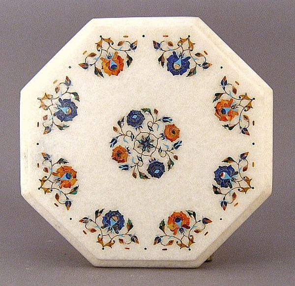 "Picture of White Marble Table Top Octagonal with Semi Precious Stone Inlay Border + Center Medallion | 12""Wide 3/4""Thick 