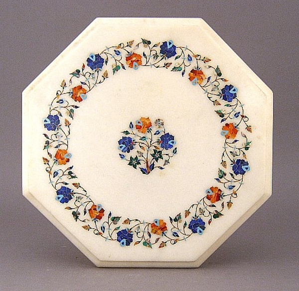 """Picture of White Marble Table Top Octagonal with Semi Precious Stone Inlay Border + 4""""D Center Medallion 