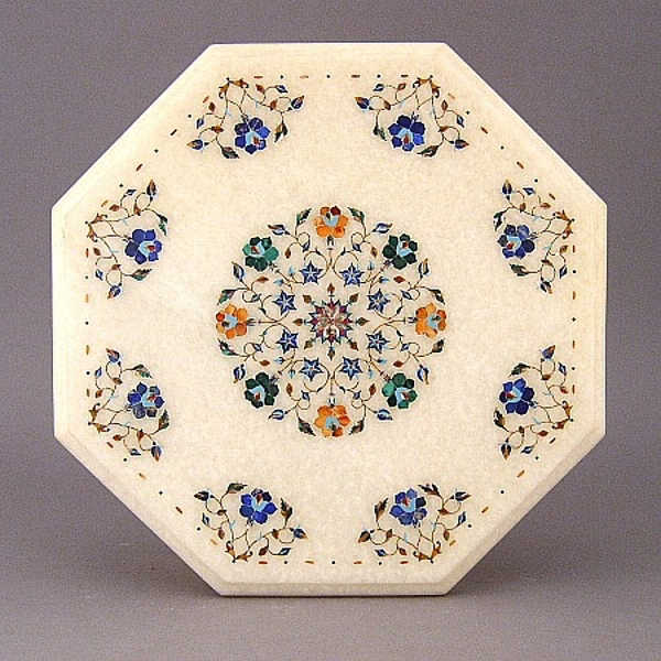 """Picture of White Marble Table Top Octagonal with Semi Precious Stone Inlay Border + 6""""D Center Medallion 