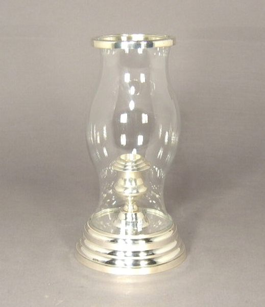 """Picture of Silver Plated on Brass Candle Holders  with Glass Shades Set/2    5""""Dx10""""H    Item No. K61140"""