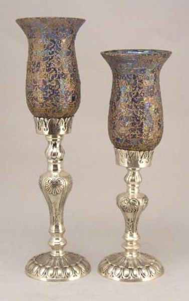 """Picture of Silver Plated on Brass Candle Holders with Mosaic Glass Shades  Set/2    18"""" & 20""""H    Item No. K79445"""