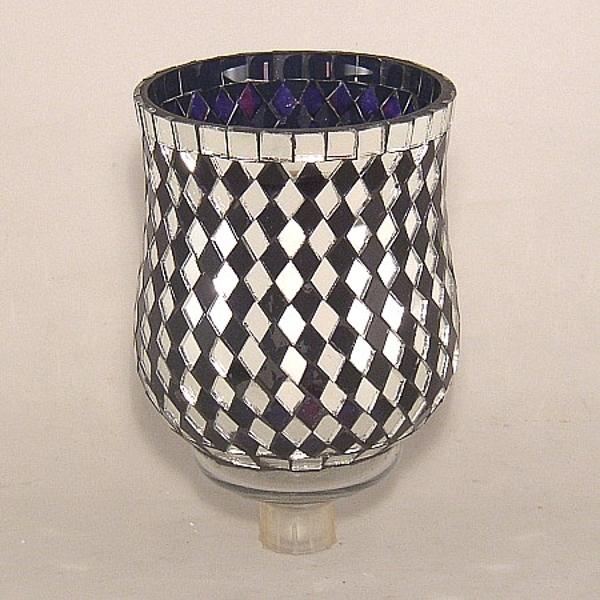 "Picture of Cobalt Blue Glass and Mirror Diamond Tile Mosaic 5"" Peg Votive #K25102"