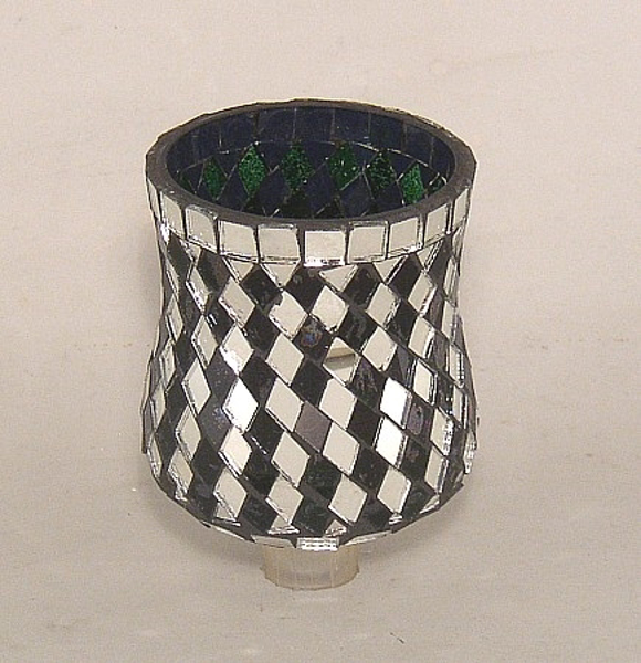 """Picture of Green Glass and Mirror Diamond Tile Mosaic 4"""" Peg Votive #K25111"""