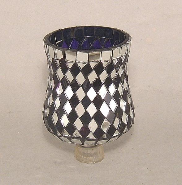 "Picture of Cobalt Blue Glass and Mirror Diamond Tile Mosaic 4"" Peg Votive #K25112"