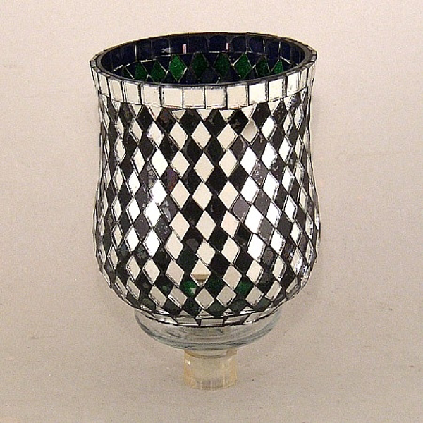 """Picture of Green Glass and Mirror Diamond Tile Mosaic 5"""" Peg Votive #K25101"""