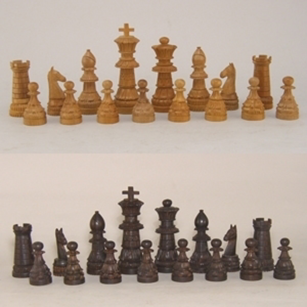 """Picture of Chess Set Hand Carved from Aromatic Sandalwood   2.25"""" to 5""""Tall    Item No. K02001"""