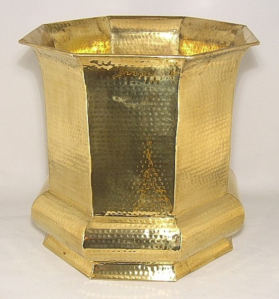 """Picture of Brass Planter Hammered Octagonal  For Silk Tree  