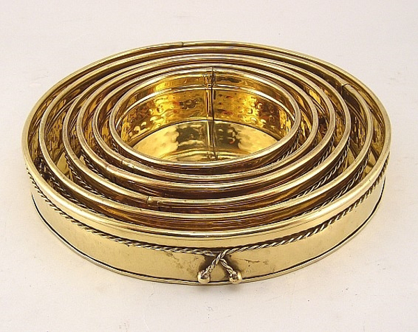 """Picture of Brass Planter Garden Tray with Rope Tie Set/6  