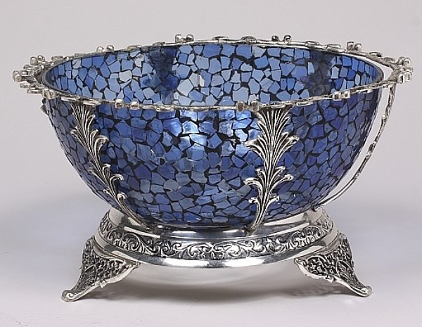 """Picture of Bowl Mosaic Glass Blue in Silver Stand 