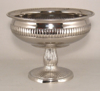 "Picture of Silver Color Bowl Nickel Plated Ribbed with Pedestal | 10.5""D x 7.75""H 