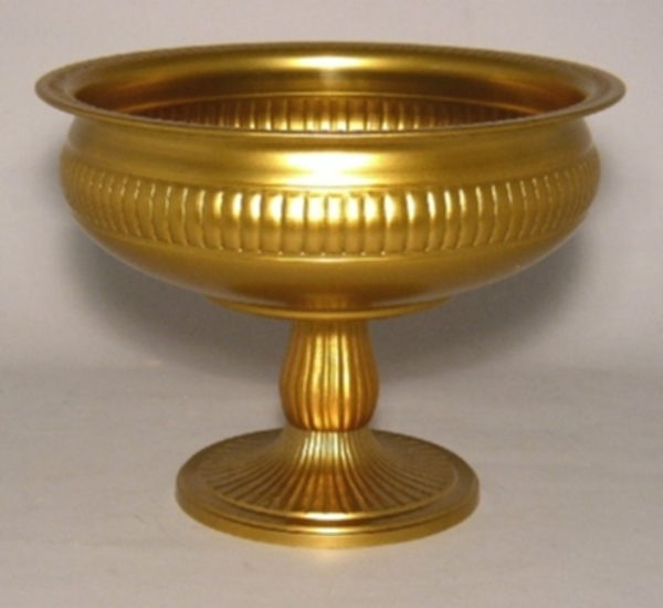 "Picture of Antique Gold Bowl with Pedestal & Ribbed Pattern |10.5""D x 7.75""H 