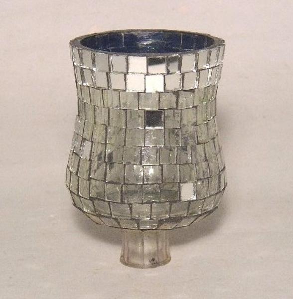 "Picture of Silver Mirror Mosaic Peg Votive #20213  2.75""Dx3.75""H"