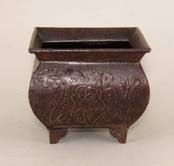 """Picture of Dark Brown Planter Embossed Pattern Footed Medium 