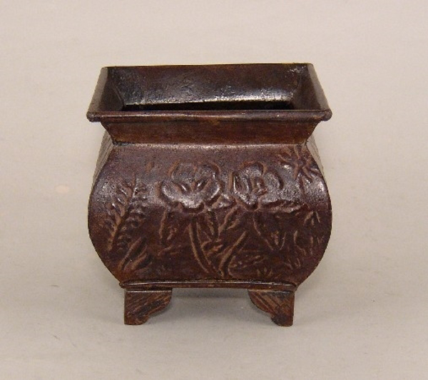 "Picture of Dark Brown Planter Embossed Pattern Footed Small | 6.00"" x 6.00"" H 