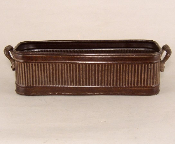 """Picture of Dark Brown Planter Rib Pattern w/ Handles Large 