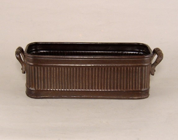 "Picture of Dark Brown Planter Rib Pattern w/ Handles Small | 10.00"" x 3.50""H 