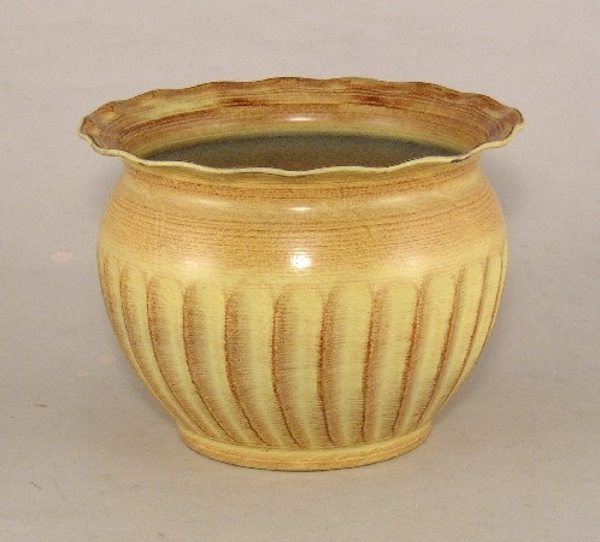 """Picture of Earth Tone Planter Fluted Pattern w/ Waved Lip Tree Medium 