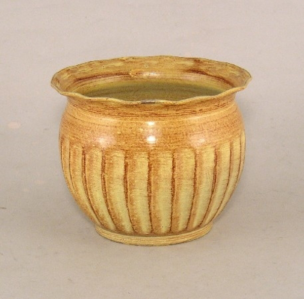 """Picture of Earth Tone Planter Fluted Pattern w/ Waved Lip Tree Small 