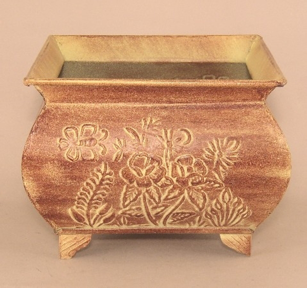 "Picture of Earth Tone Planter Embossed Pattern Footed Large | 9.00"" x 7.00""H 