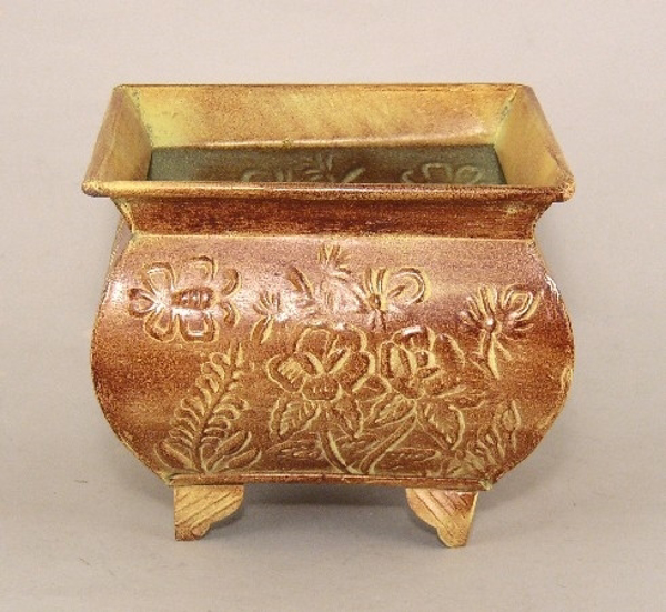 """Picture of Earth Tone Planter Embossed Pattern Footed Medium 