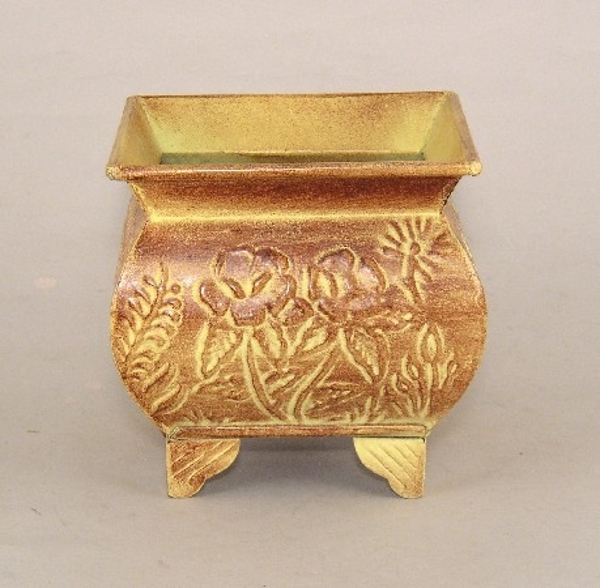 """Picture of Earth Tone Planter Embossed Pattern Footed Small 