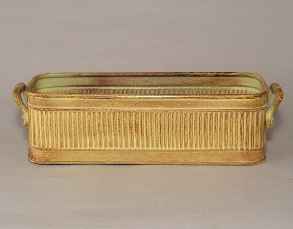 """Picture of Earth Tone Planter Rib Pattern w/ Handles Large 