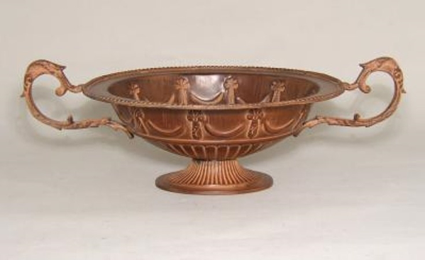 """Picture of Brown Finish Bowl Oval with Handles Boat Shaped 