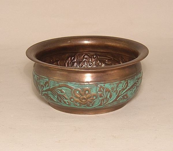 "Picture of Bronze Bowl Verde Embossed Round  | 6""Dx2.25""H 