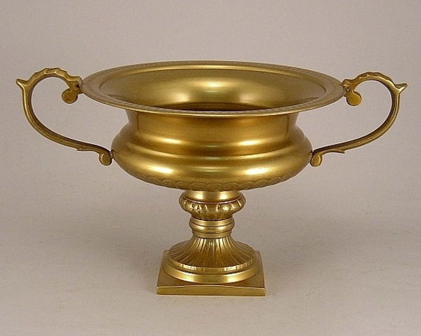 """Picture of Antique Gold on Aluminum Bowl with Handles on Pedestal Base  