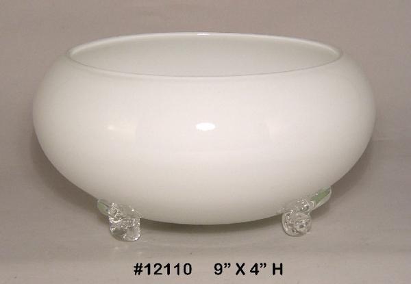 "Picture of Bowl White Glass Garden Dish 4-Feet Flower Arrangement | 9""Dx4""H |  Item No. K12110"