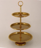 """Picture of Gold Finish on Metal Cupcake Stand 3-Tier with Rhinestone Border Trays  