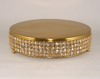 "Picture of Gold Finish Metal Cake Stand 4-Rows of Honey Color Crystal Bead Border | 16""Dx4""H 