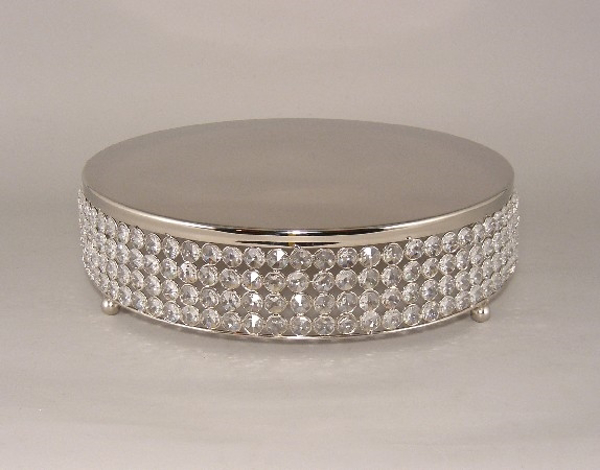 """Picture of Nickel Finish Metal Cake Stand 4-Rows of Clear Crystal Bead Border 