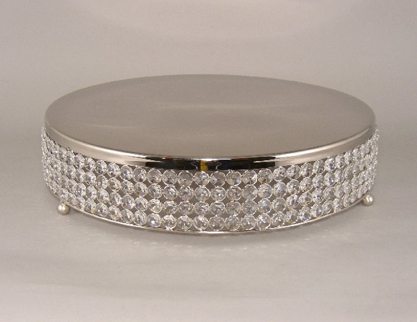 "Picture of Nickel Finish Metal Cake Stand 4-Rows of Clear Crystal Bead Border | 16""Dx4""H 