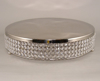"Picture of Nickel Finish Metal Cake Stand 4-Rows of Clear Crystal Bead Border | 18""Dx4""H 