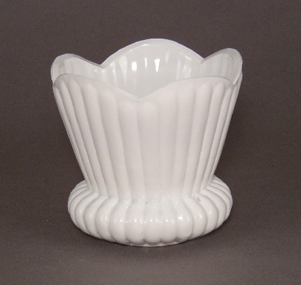 "Picture of Painted White Glass Flower Arrangement Bowl #KWB19 4.75""Dx4.5""H"