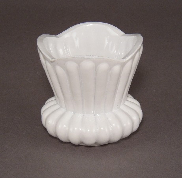 "Picture of Painted White Glass Flower Arrangement Bowl #KWB20 3""Dx2.75""H"