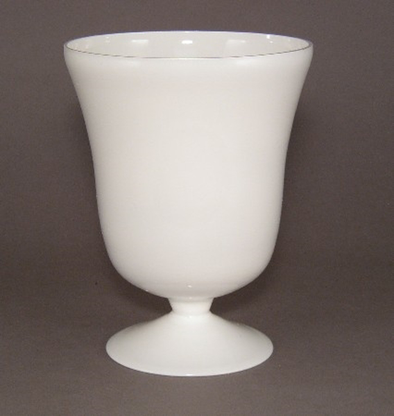 "Picture of Vase Painted White Glass  | 6""Dx8""H 