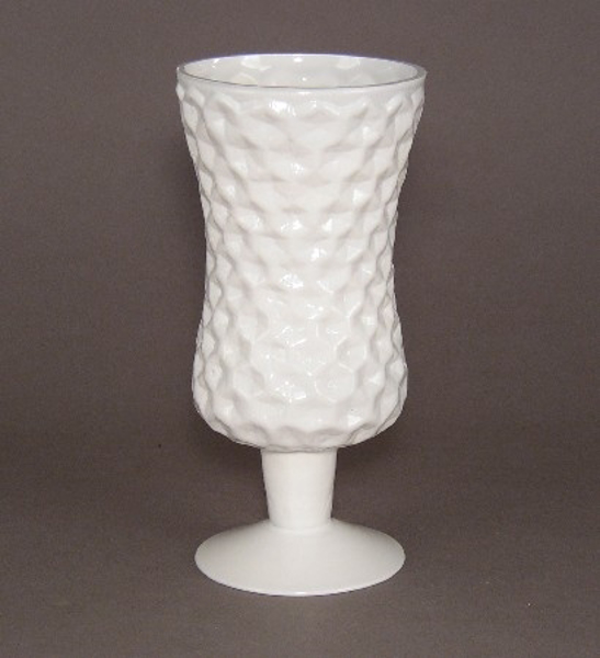 "Picture of Vase Painted White Glass  | 4""Dx8.25""H 